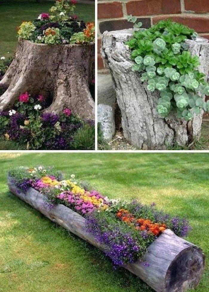 deko ideen selbermachen gartendekoration stümpfe pflanzenbehälter, Gartenarbeit ideen
