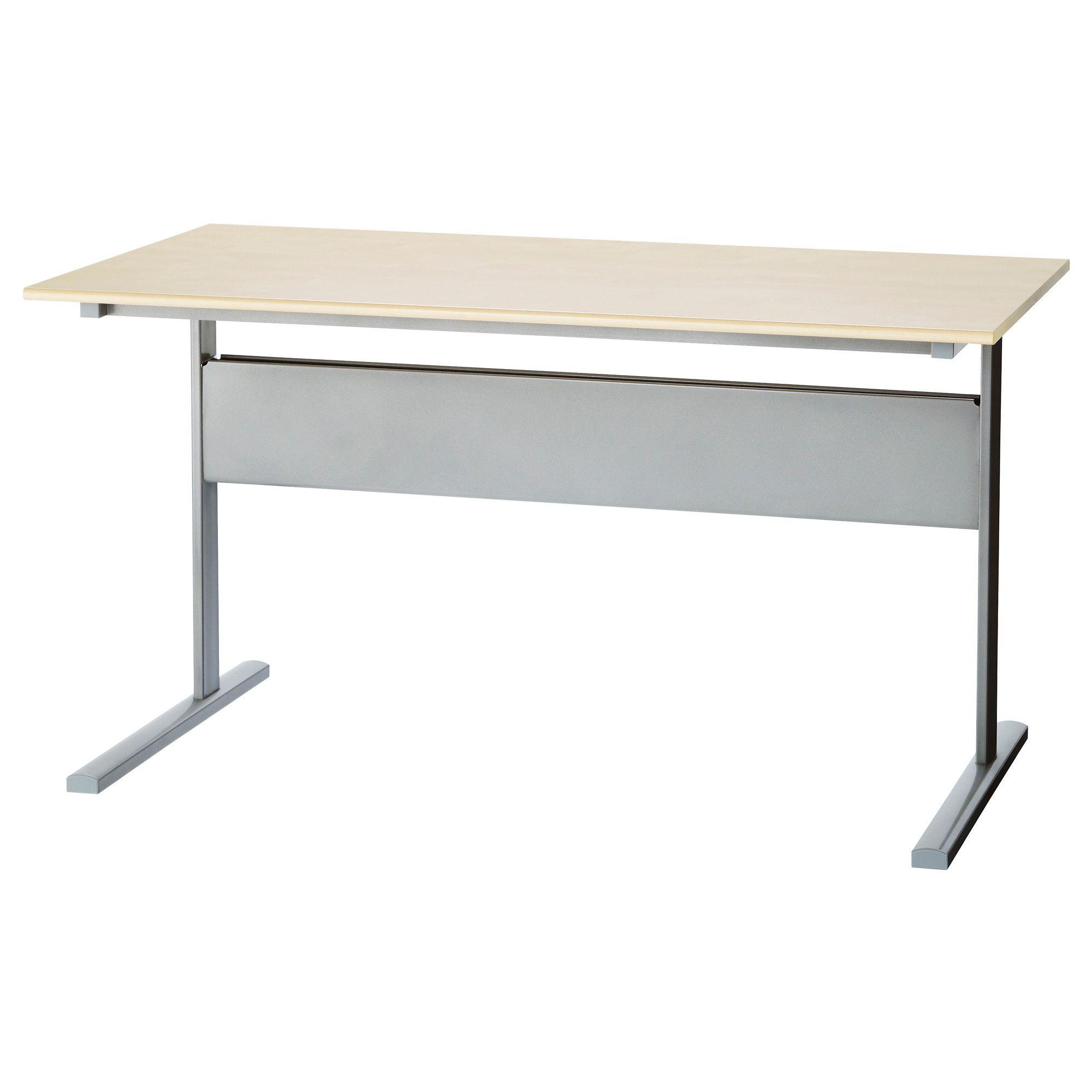 Fredrik Desk Birch Effect Silver Color Ikea