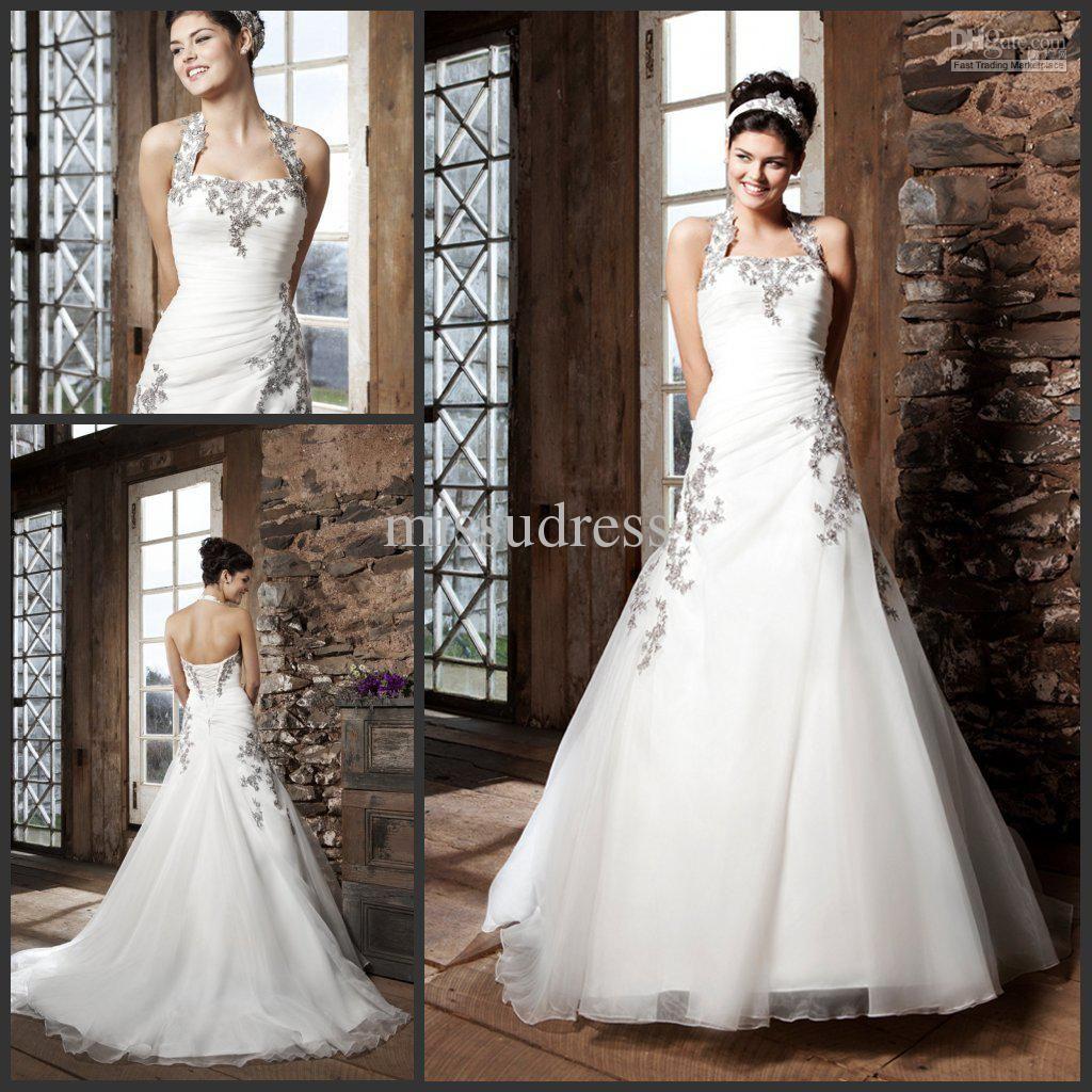 Wholesale White Dress - Buy New Design Fashion Halter Lace Applique Organza Back Lace Up Black And White Bride Wedding Dress, $181.82   DHgate