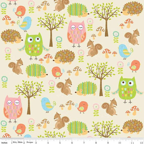 Riley Blake. Owl & Co. Friends Cream - Cotton fabric BTY - Choose your cut