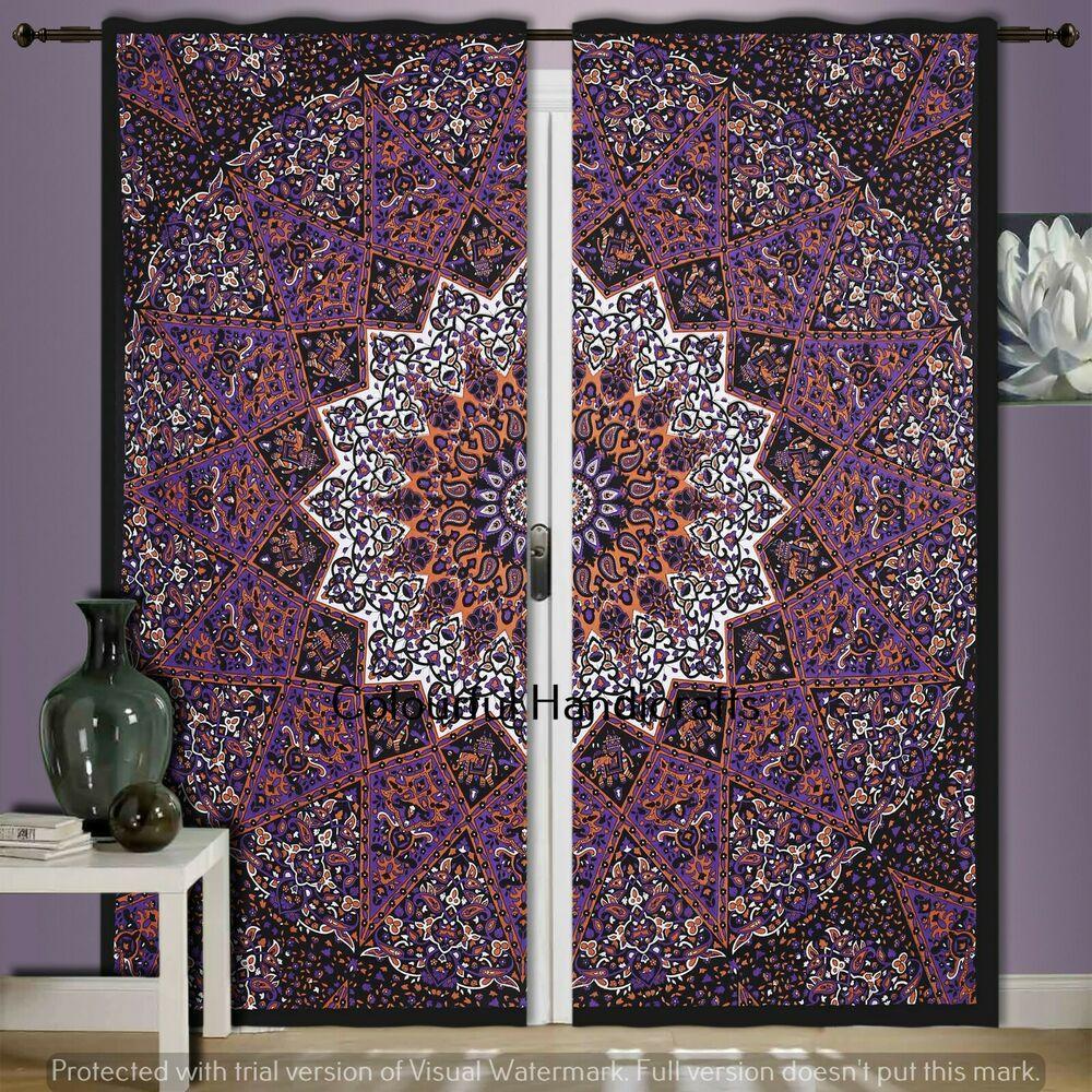 Ethnic Indian Mandala Tree Of Life Bohemian Door Window Curtain Drapes Curtains