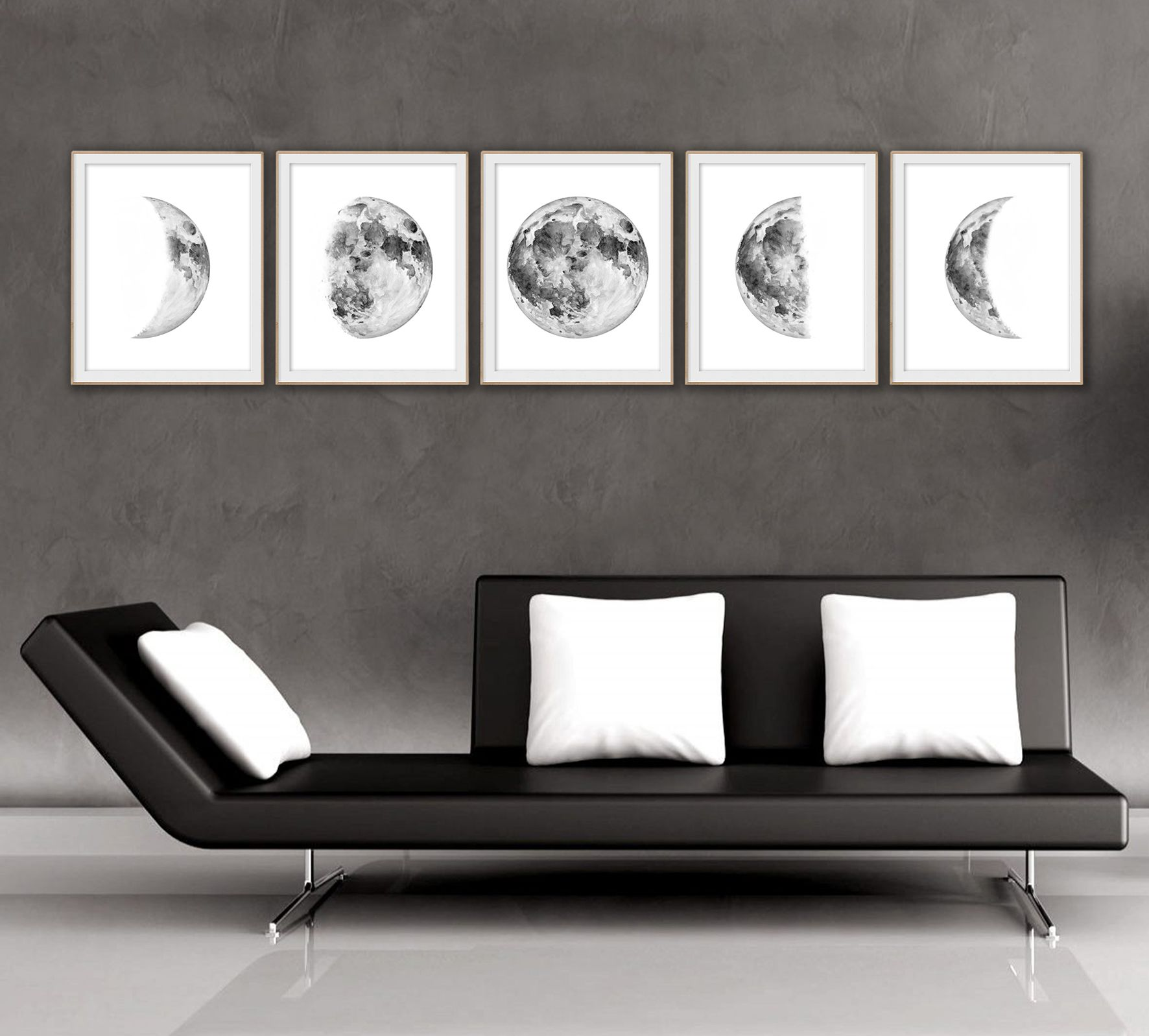 Moon phase Large Printable wall art Art print Watercolor painting Home decor Instant download Moon poster & Moon phase Printable wall art Watercolor print Large wall art ...
