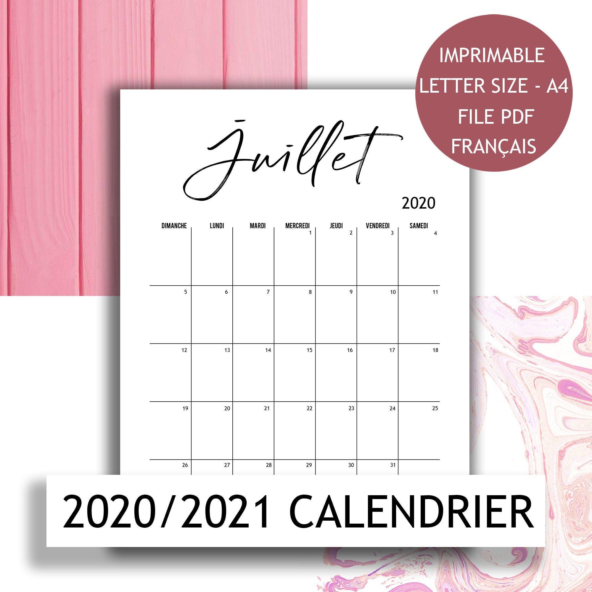 2020 Calendario stampabile calendario francese modello | Etsy nel
