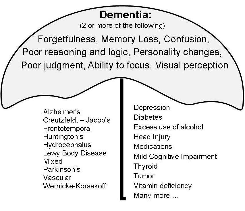 Dementia is an umbrella term for 89-90 different causes