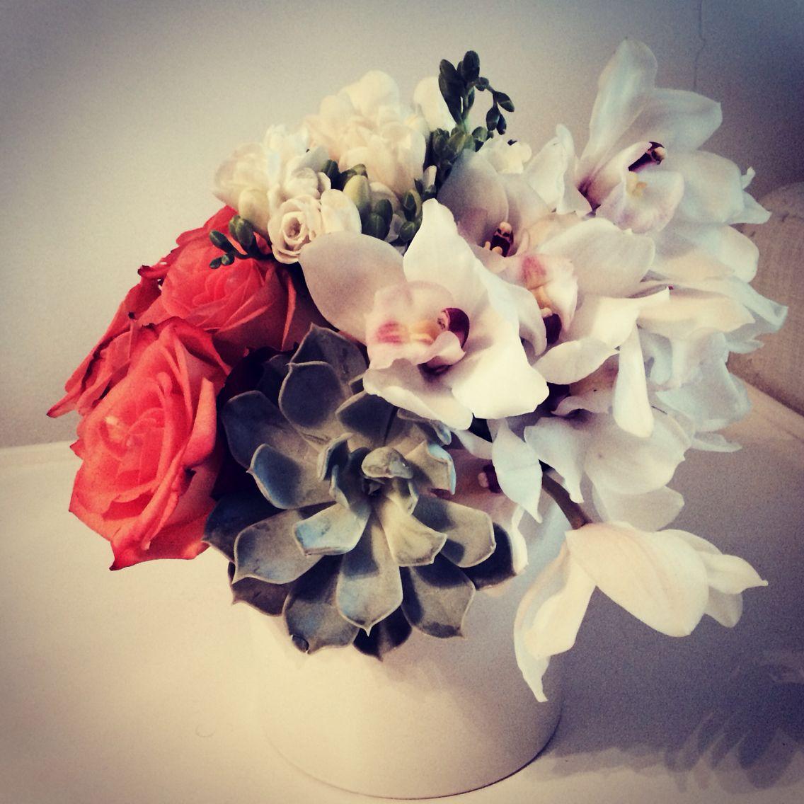 Flower Arrangement With Succulents Cymbidium Orchids And Roses Flower Arrangements Cymbidium Orchids Flower Arrangement Designs