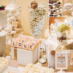 Shabby chic Scrabble dessert bar #weddingideas #desserttable #dessertbar #shabbychic #weddingdessert