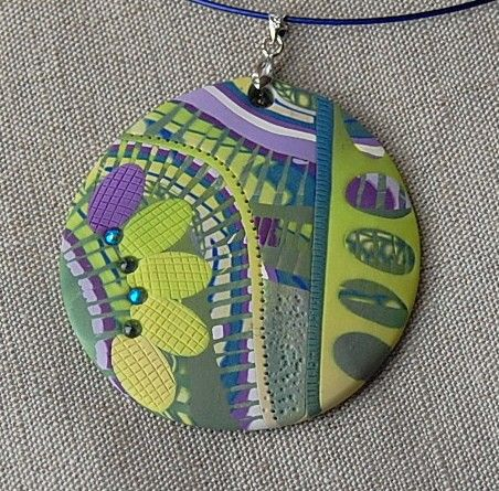 handmade polymer clay fimo and sculpey pendant - 09D21