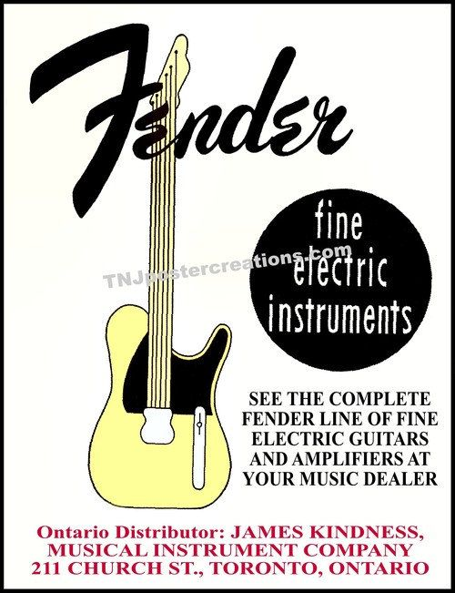 Fender Fine Electric Instruments 1957 Toronto Poster Esquire James Kindness By Mygenerationshop On Etsy Electricity Instruments Guitar Posters