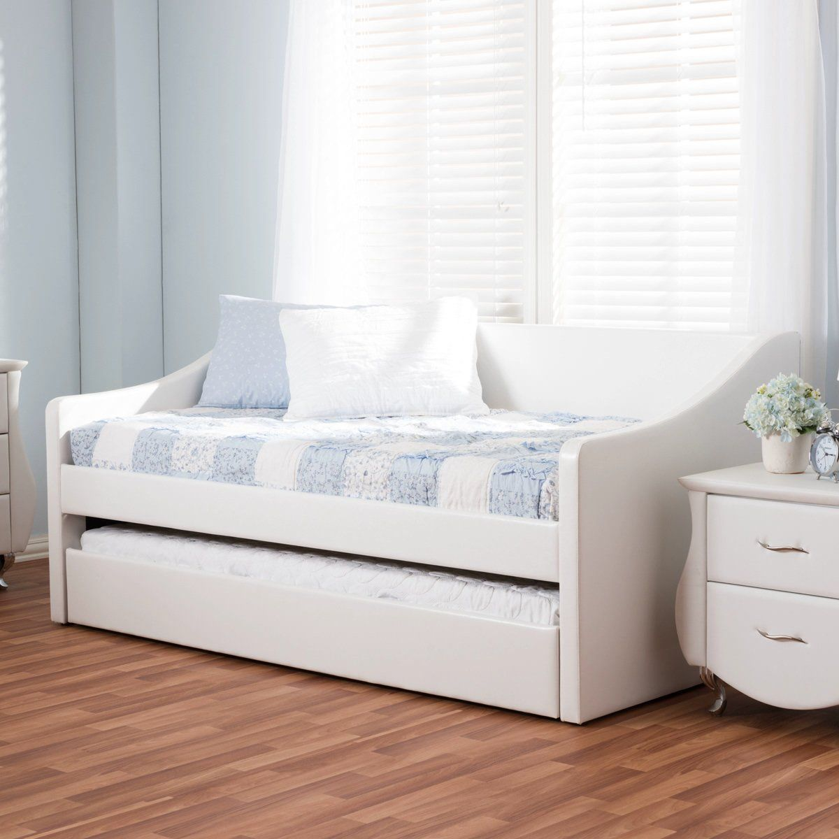 Baxton Studio Barnstorm White Leather Daybed With Guest Trundle Bed