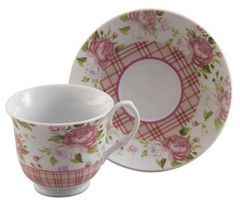 Gingham Rose Tea Cups Wholesale Case of 24 Porcelain Teacups and 24 ...