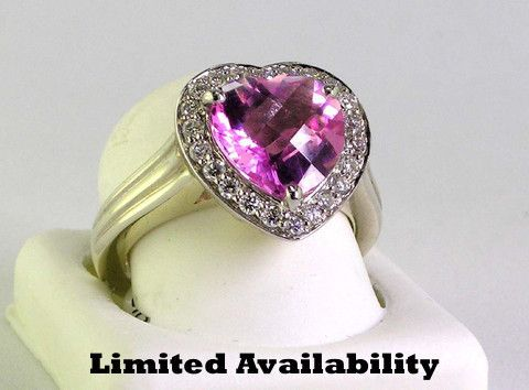 Charles Krypell Sample Sale — Charles Krypell Pink Topaz Heart Shaped Ring with Diamonds