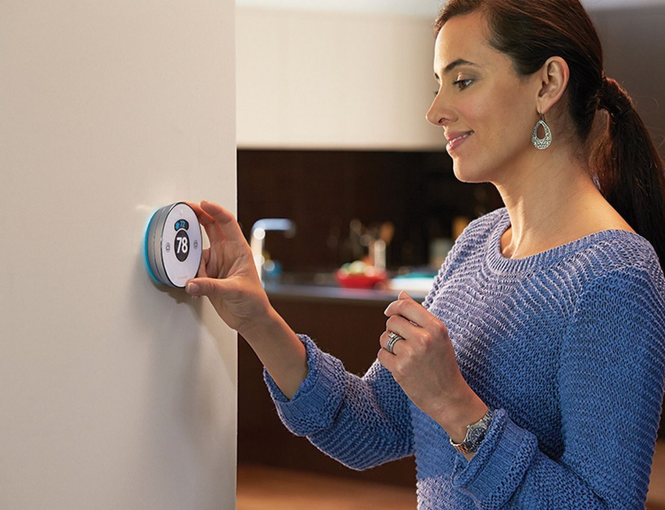 how to set honeywell thermostat temperature round