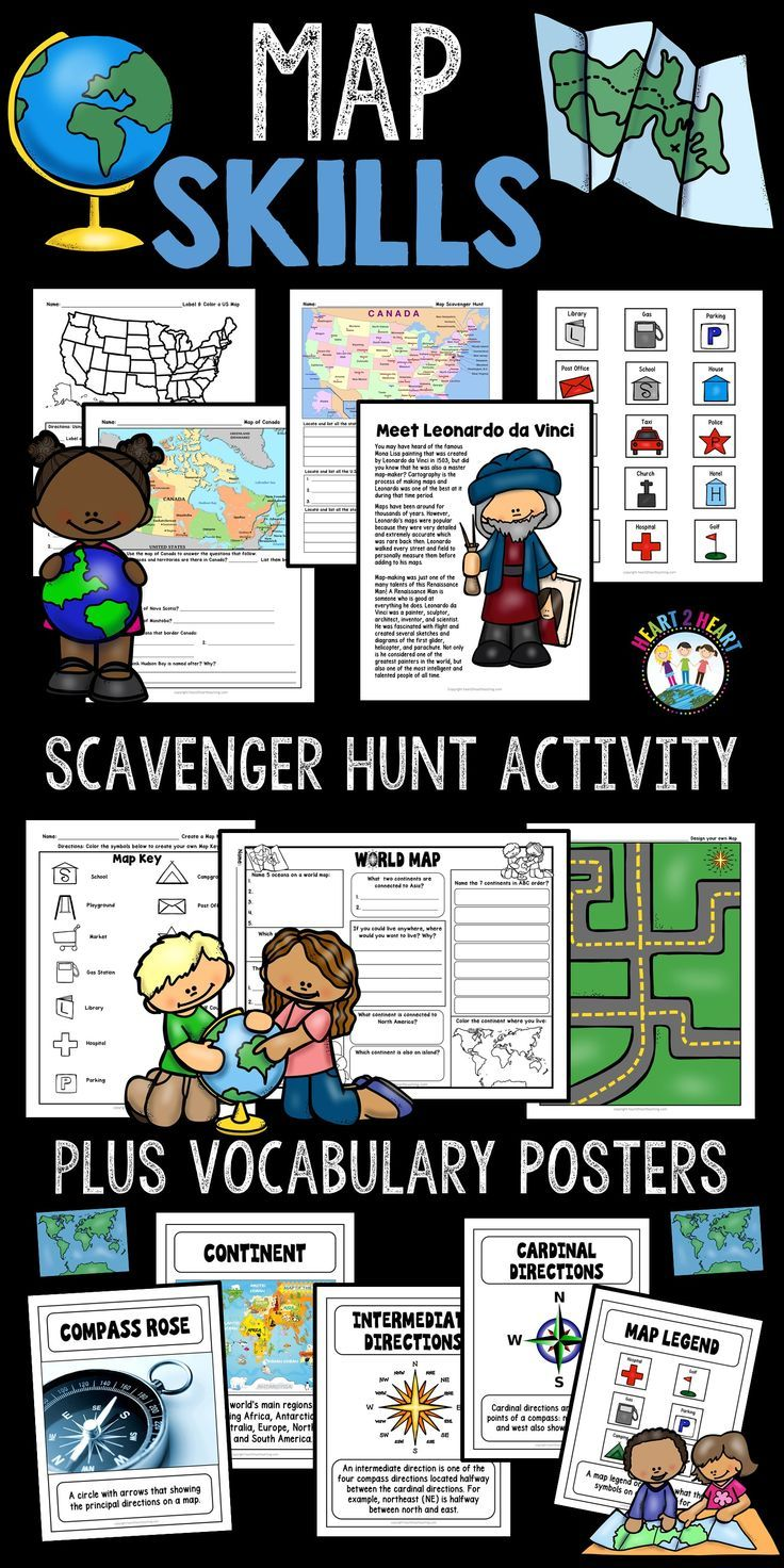 Map Skills - Go on a Map Scavenger Hunt with US Maps & World ...