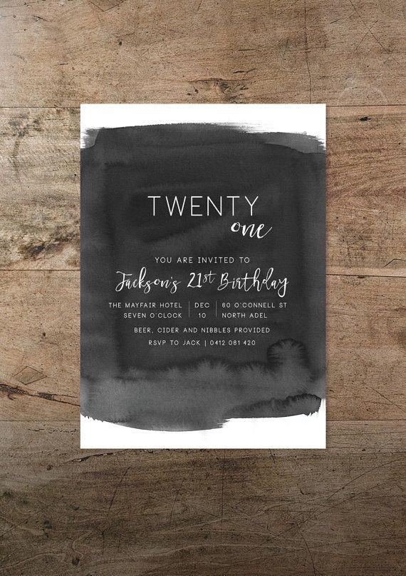 Twenty First Birthday Invitation Black And White Invitation
