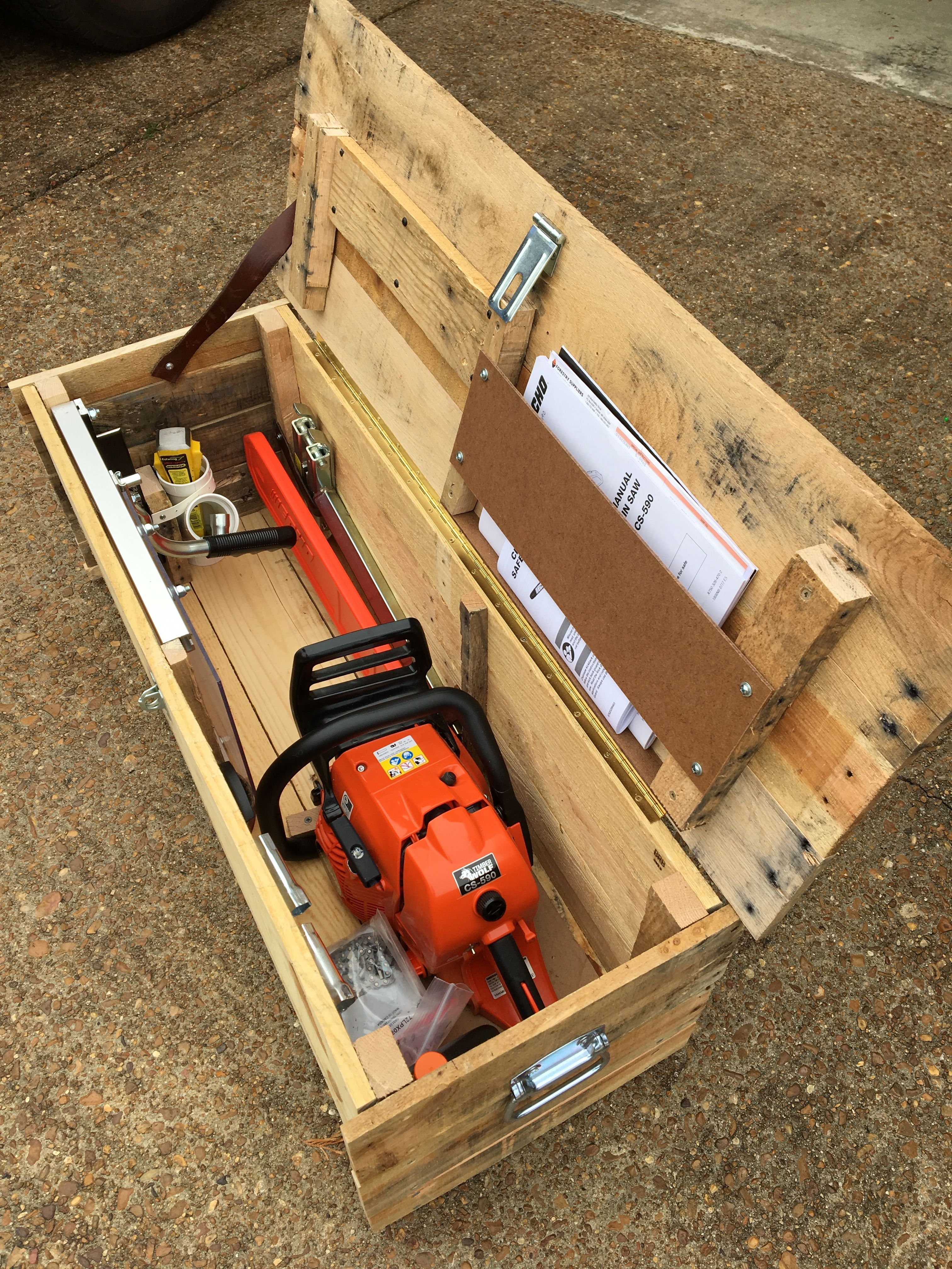 Chainsaw box made from pallet wood in 2020 diy garage