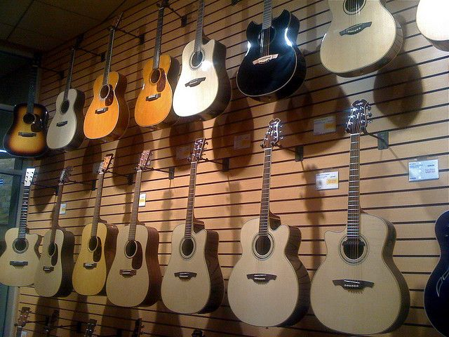 An Assortment Of Acoustic Guitars On Display In Sweetwater S Store In Fort Wayne Learn How To Play Guitar Easy And In Th Guitar Learn Guitar Martin Guitar