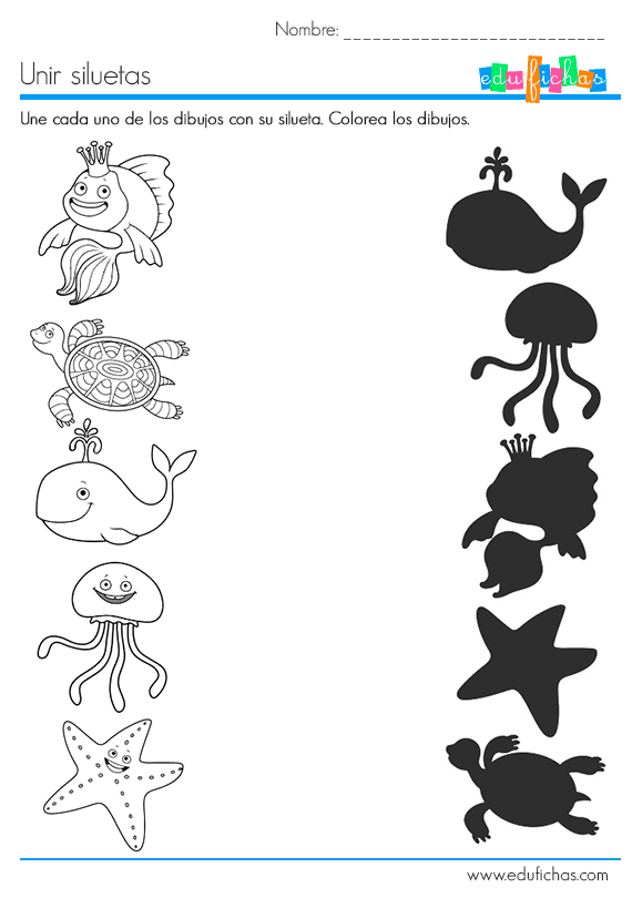 ejercicio de siluetas con dibujos para relacionar | proyecto peces ...