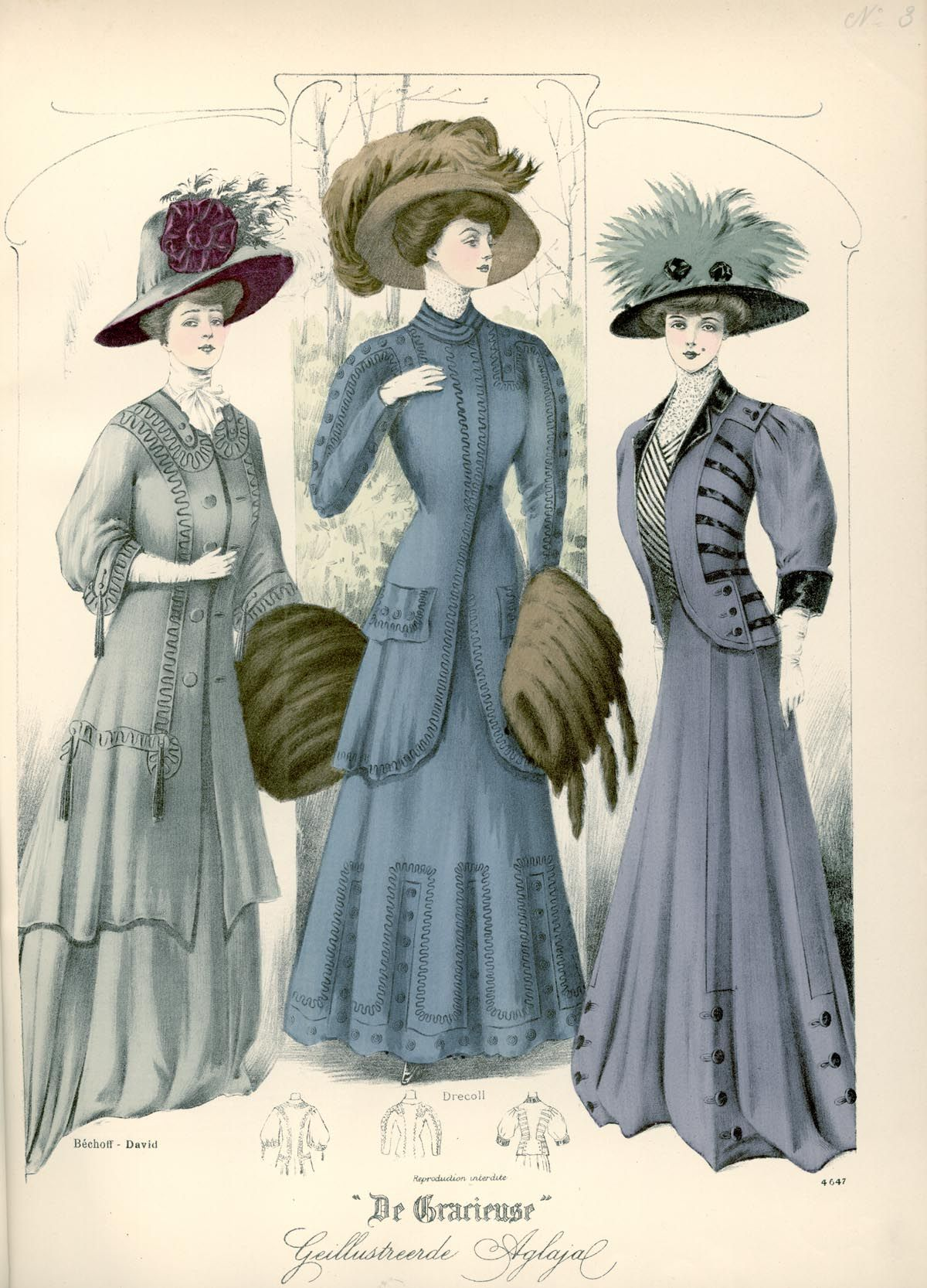 [De Gracieuse] Visite- en wandeltoiletten (February 1908)