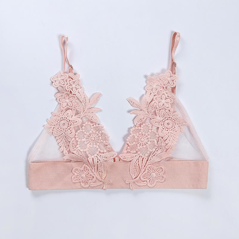 46648804ea Floral Embroidery Patch Mesh Triangle Bralette Top – Lupsona