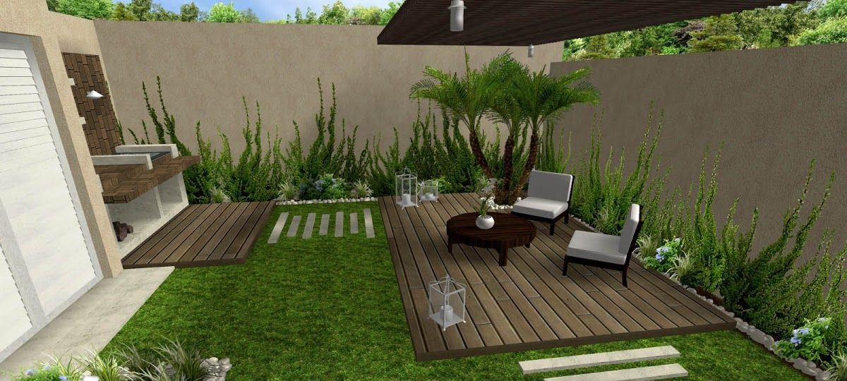 Decoraci n de jardines peque os jardin pinterest for Disenos de patios traseros