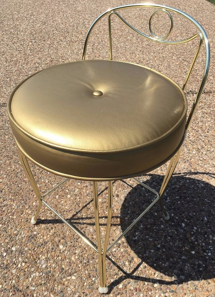 Pleasant Vintage Midcentury George Koch Sons Gold Bronze Vanity Chair Caraccident5 Cool Chair Designs And Ideas Caraccident5Info