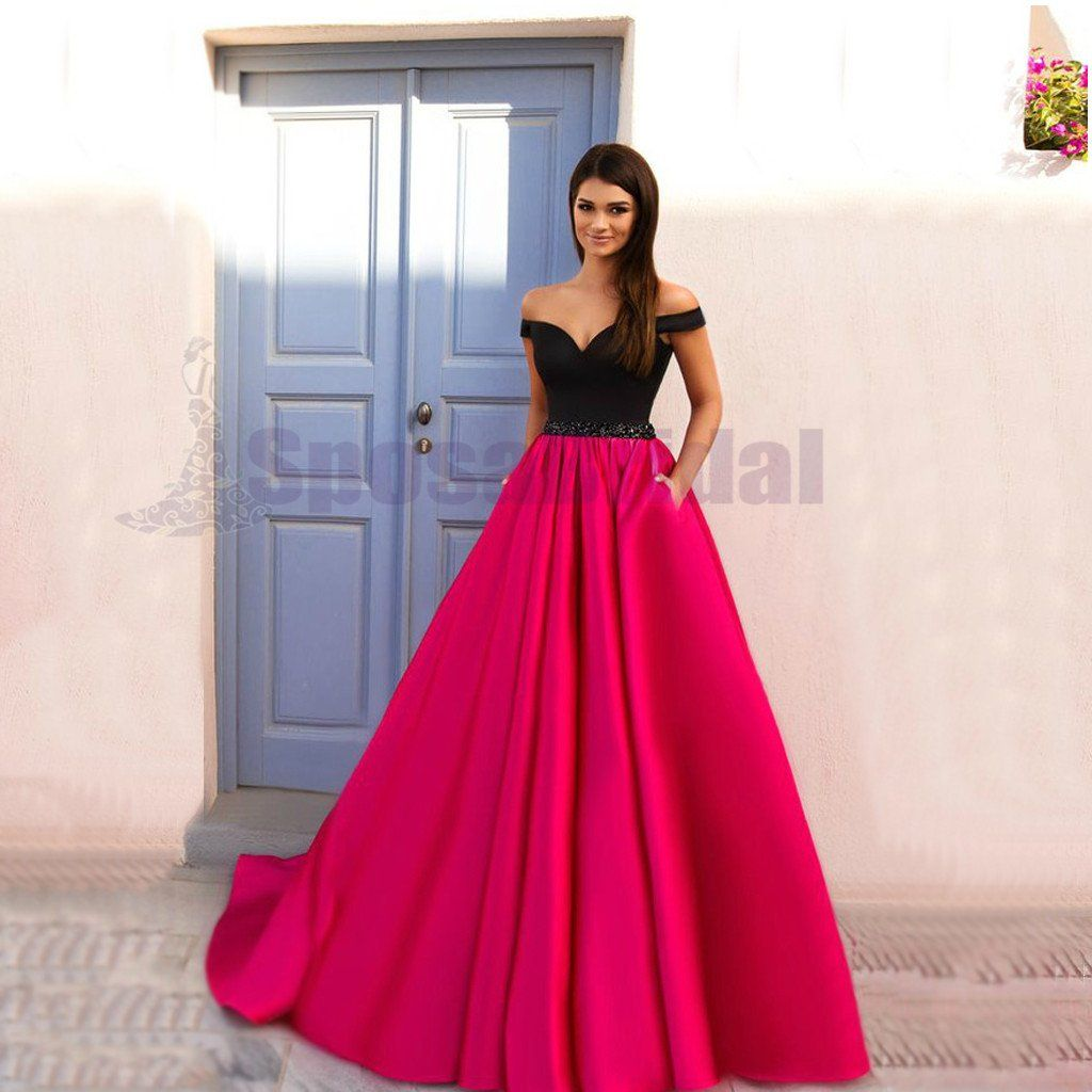 Off shoulder aline simple elegant formal fashion party prom dresses