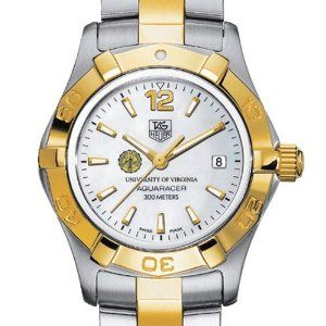 """University of Virginia TAG Heuer Watch - Women's Two-Tone Aquaracer Watch by TAG Heuer. $2395.00. Unique TAG Heuer presentation box.. Swiss-made Quartz movement.. TAG Heuer international two-year warranty. Authentic TAG Heuer watch only at M.LaHart & Co.. Officially licensed by University of Virginia. University of Virginia TAG Heuer women's Aquaracer watch with UVA seal in gold and black; """"University of Virginia"""" is written underneath. Brushed steel and polished gold-pla..."""