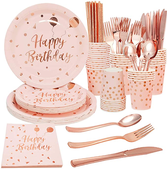 Rose Red Stripe Paper Straw Plate Cup Tableware Birthday Party Decor Supplies