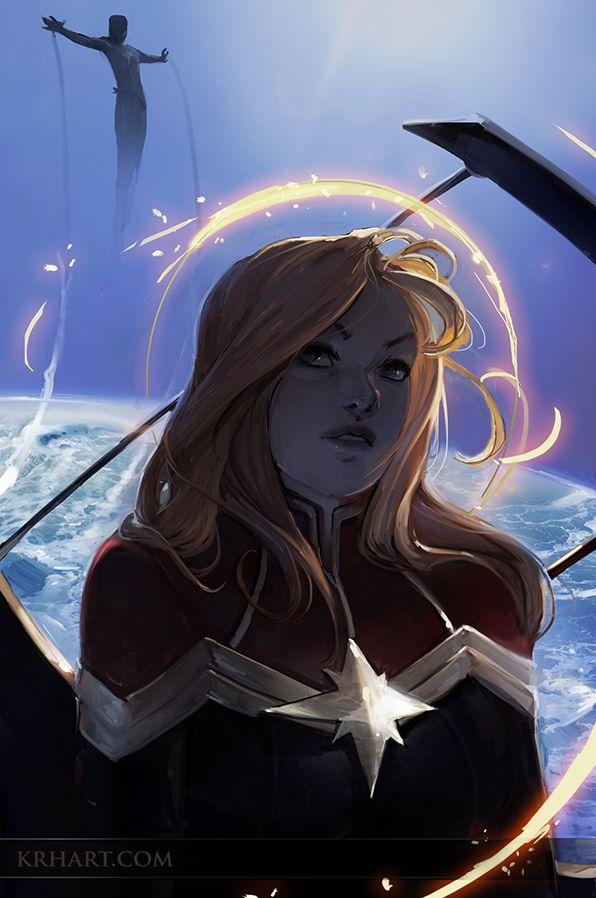 Captain Marvel, Marvel Comics. Art by krhart // DeviantART.com
