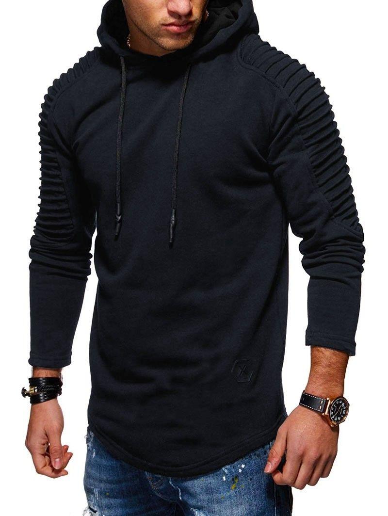 Solid Color Pleated Sleeve Long Fleece Hoodie Cadetblue 3287558937 Size S Mens Sweatshirts Hoodie Hoodies Men Sweatshirts Hoodie [ 1064 x 800 Pixel ]