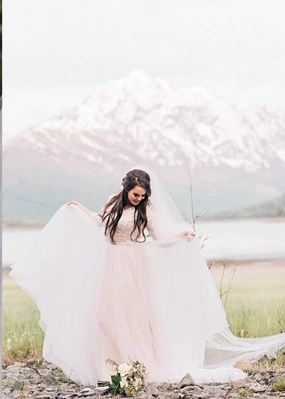 Young girls wedding dresses  Alaska Wedding Photographer  Alaska wedding Photographers and Veil