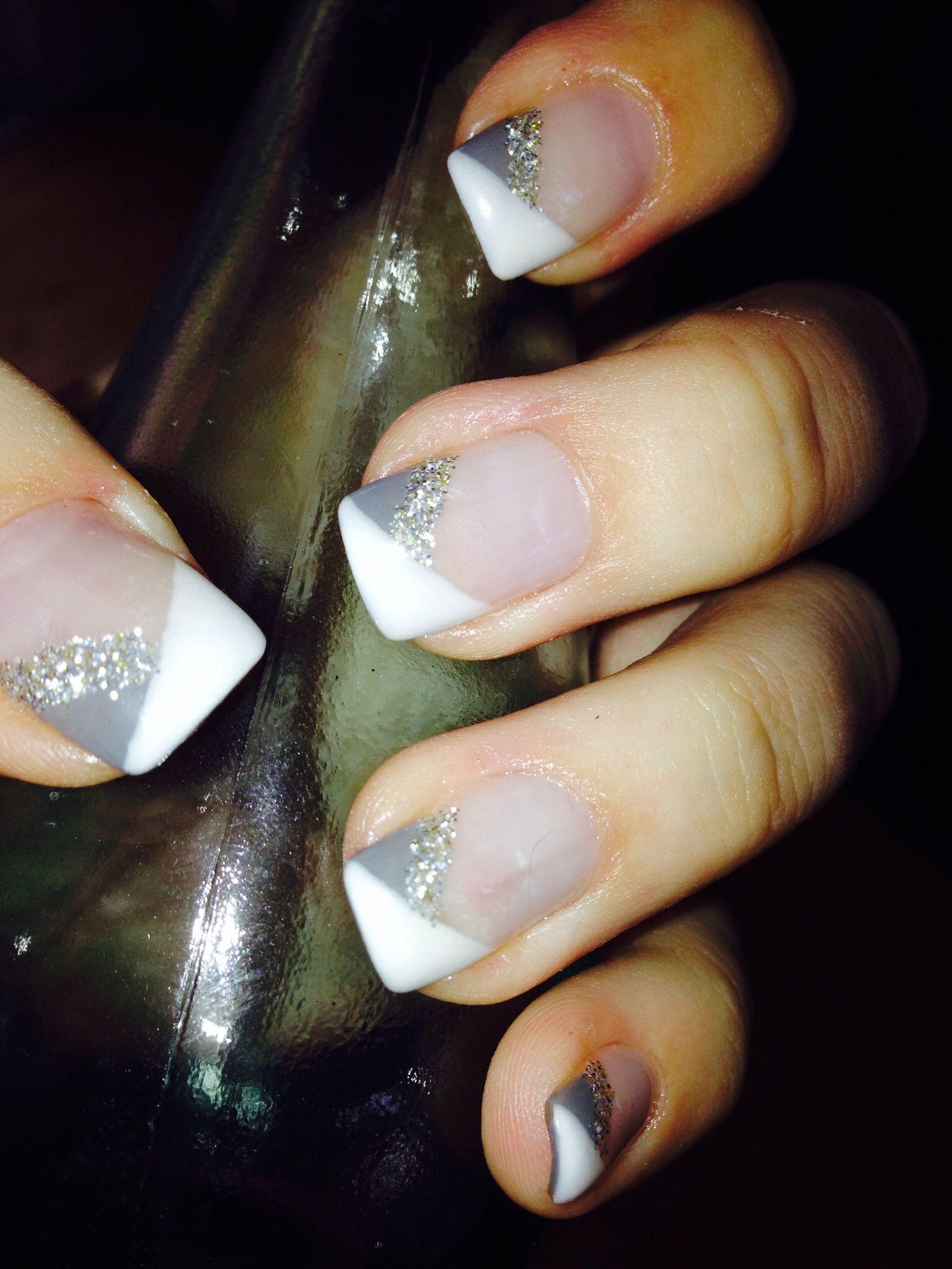 White diagonal tips w/ grey & glitter gel nails - Andrea | Nails ...
