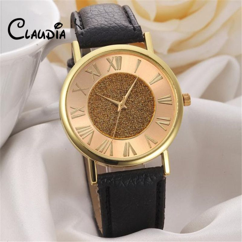 Fashion CLAUDIA High Quality Women Glitter Dial Leather Band Analog Quartz Wrist Watch Watches FreeShipping Hot sale Reloj Mujer