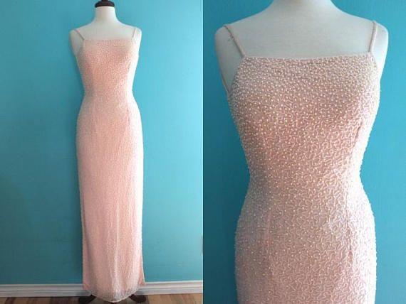 90 S Prom Dress Petal Pink Beaded Open Back