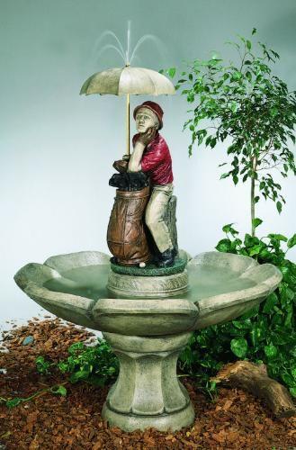 Golfer Fountain Large Cement Garden Decor Outdoor Umbrella
