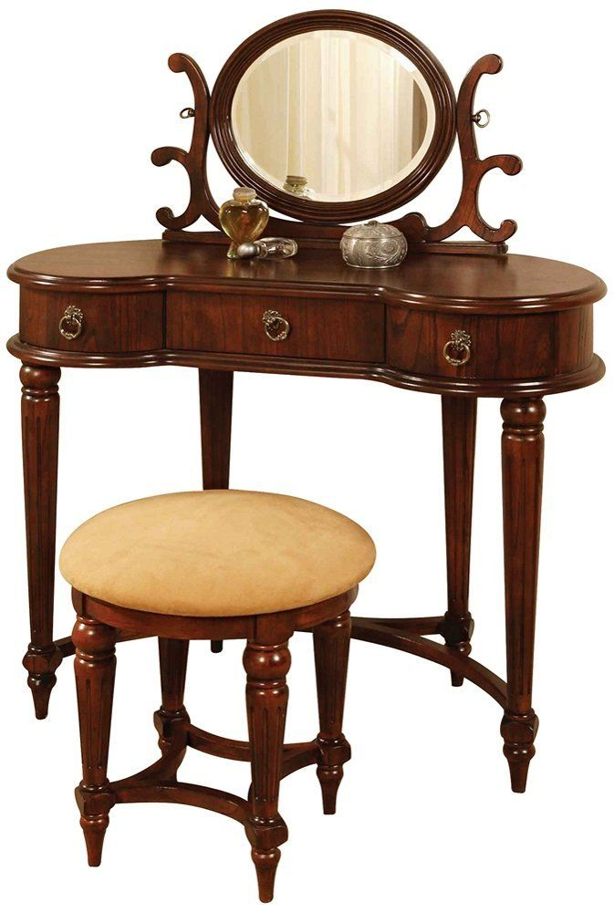 Antique Bed Stool: Powell Antique Mahogany Vanity Mirror And