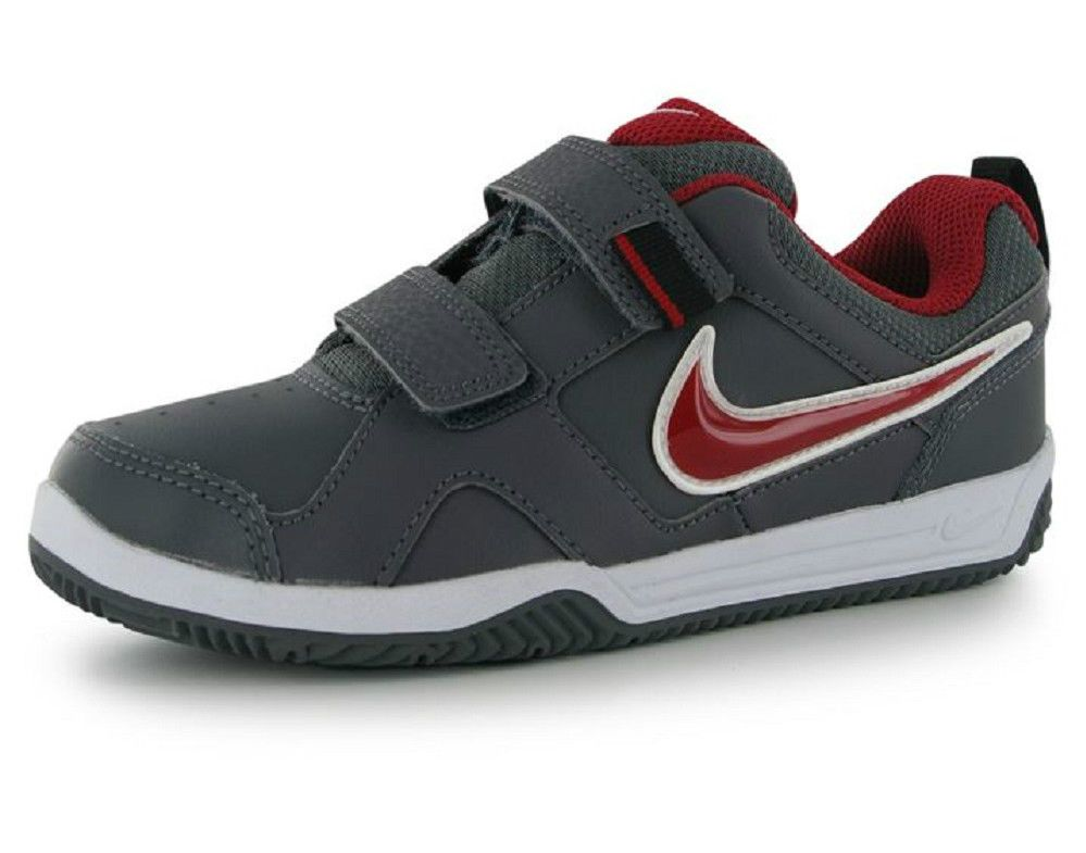 Boys Girls Nike Trainers Lykin 11 Kids Grey Red UK Child Size 10 EU 27.5 NEW