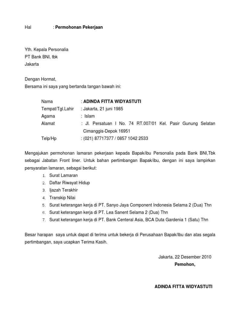 Contoh Surat Lamaran Kerja Ke Bank Bri Syariah Berbagi Contoh Surat Cute766