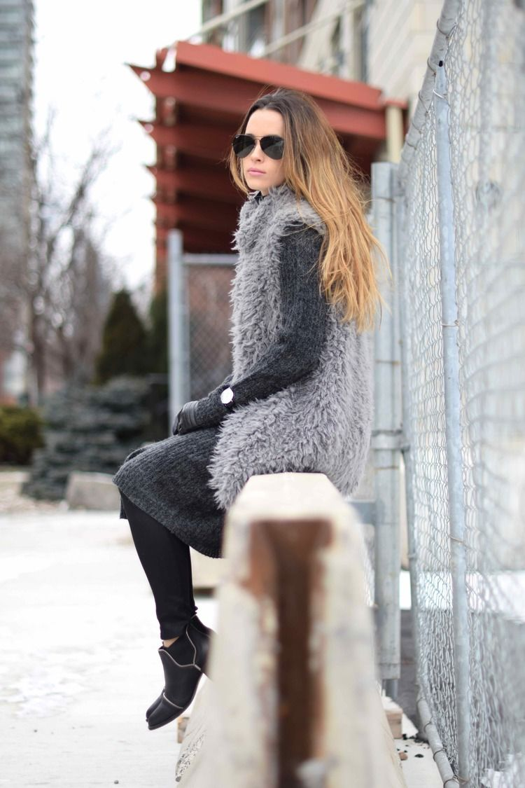 Jodi Black is wearing a furry grey shearling vest from Forever 21 d13abd1b1bc4a
