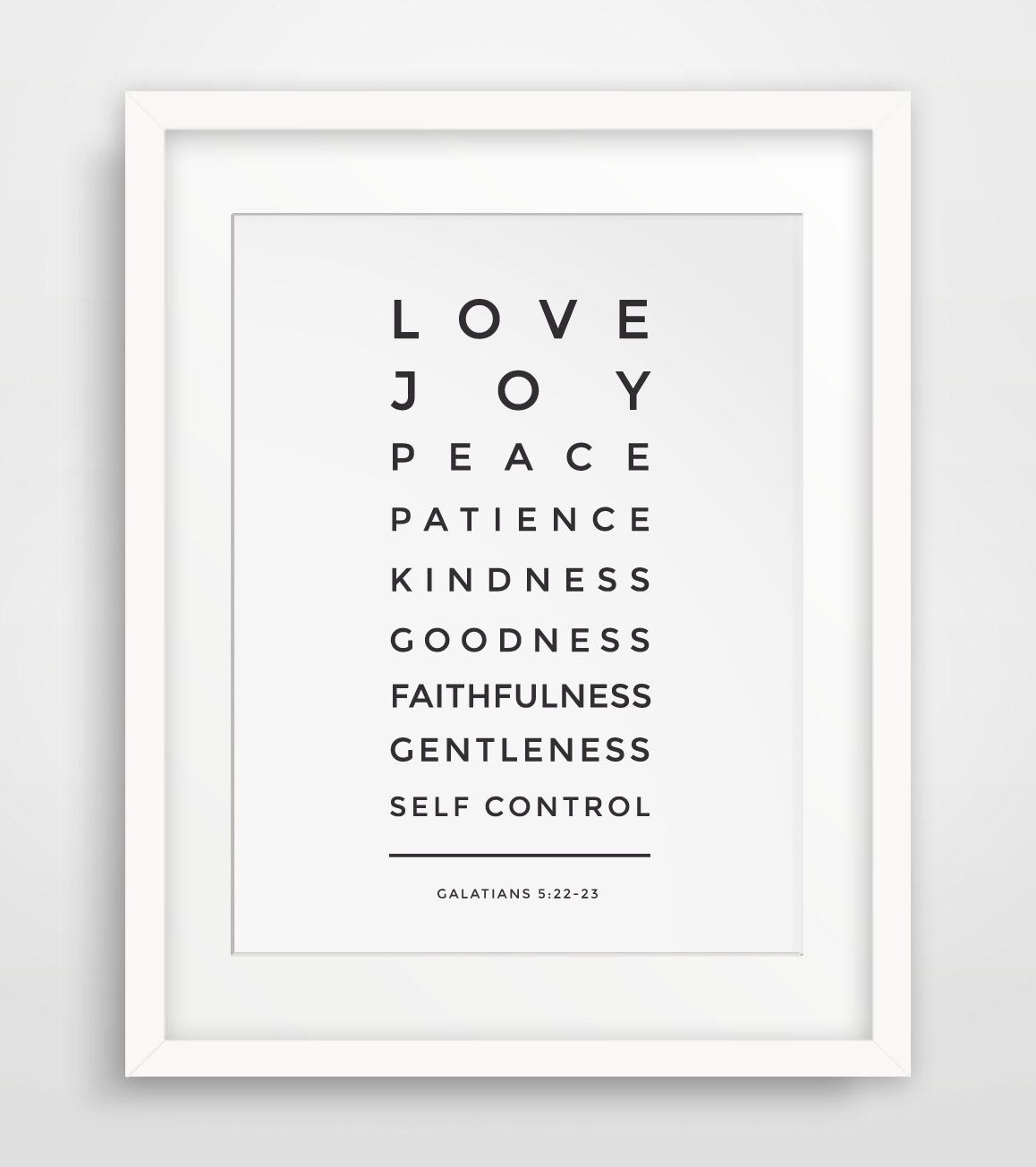 Charmant Bible Verse Print, Love, Joy, Peace, Patience, Galatians 5 22,