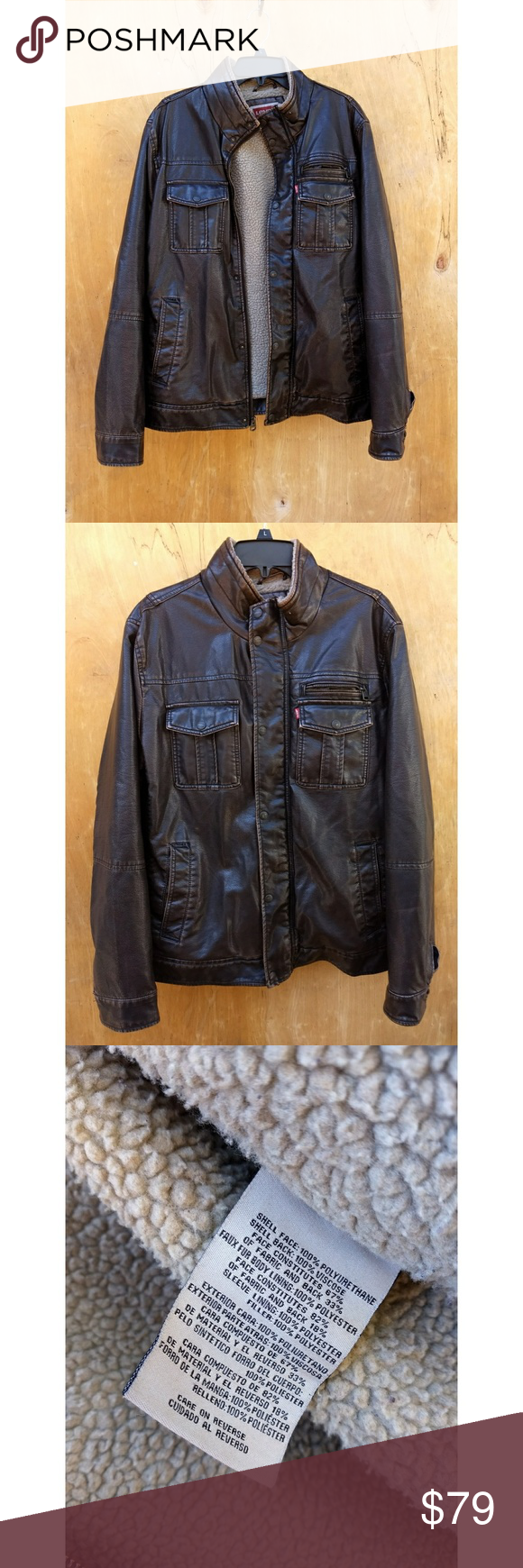 Levi's Brown faux leather jacket In great condition!! One