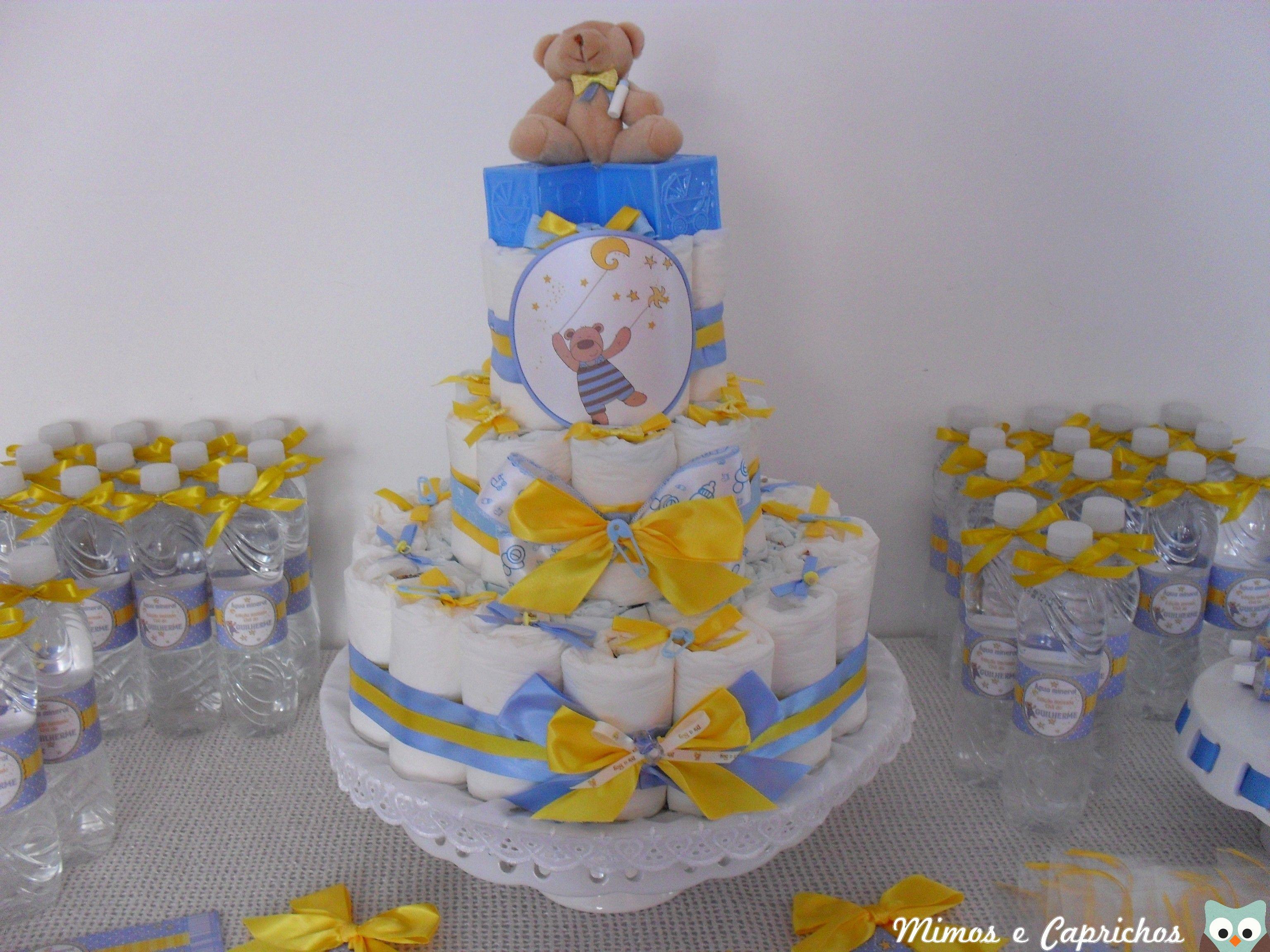 Extremamente Bolo de fraldas, chá de bebê menino, azul e amarelo! | bebek  HE99