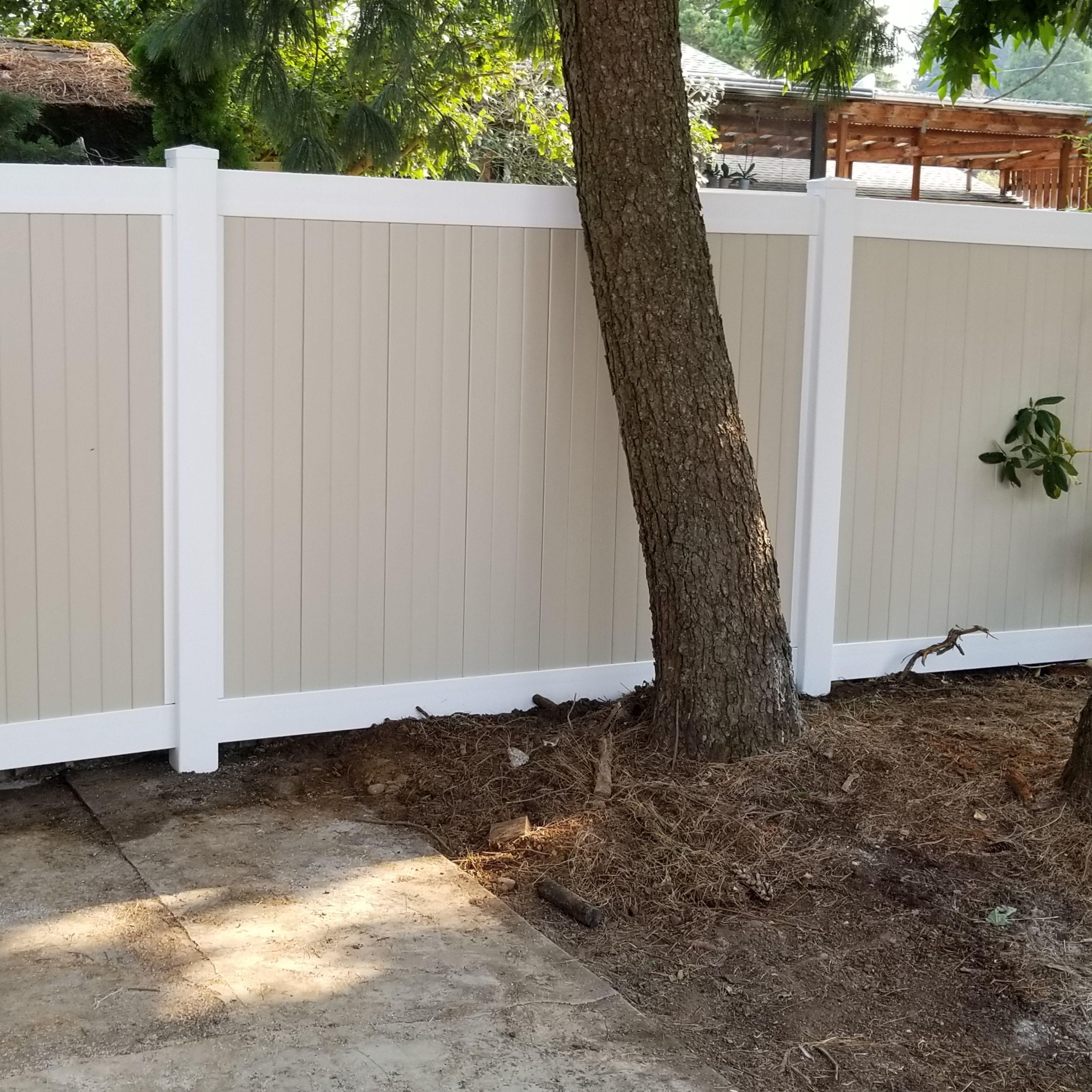 Tan Vinyl Fence Vinyl Fence Fence Building A Fence