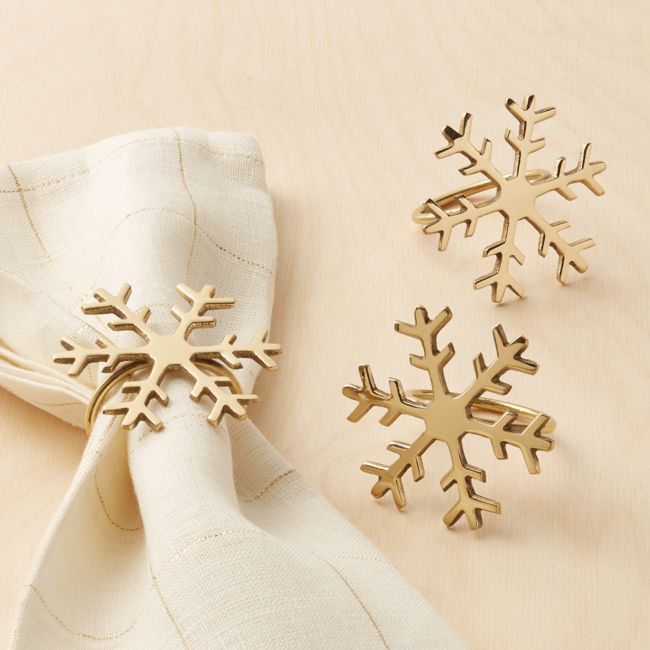 Gold Snowflake Napkin Ring | Crate and Barrel #napkinrings