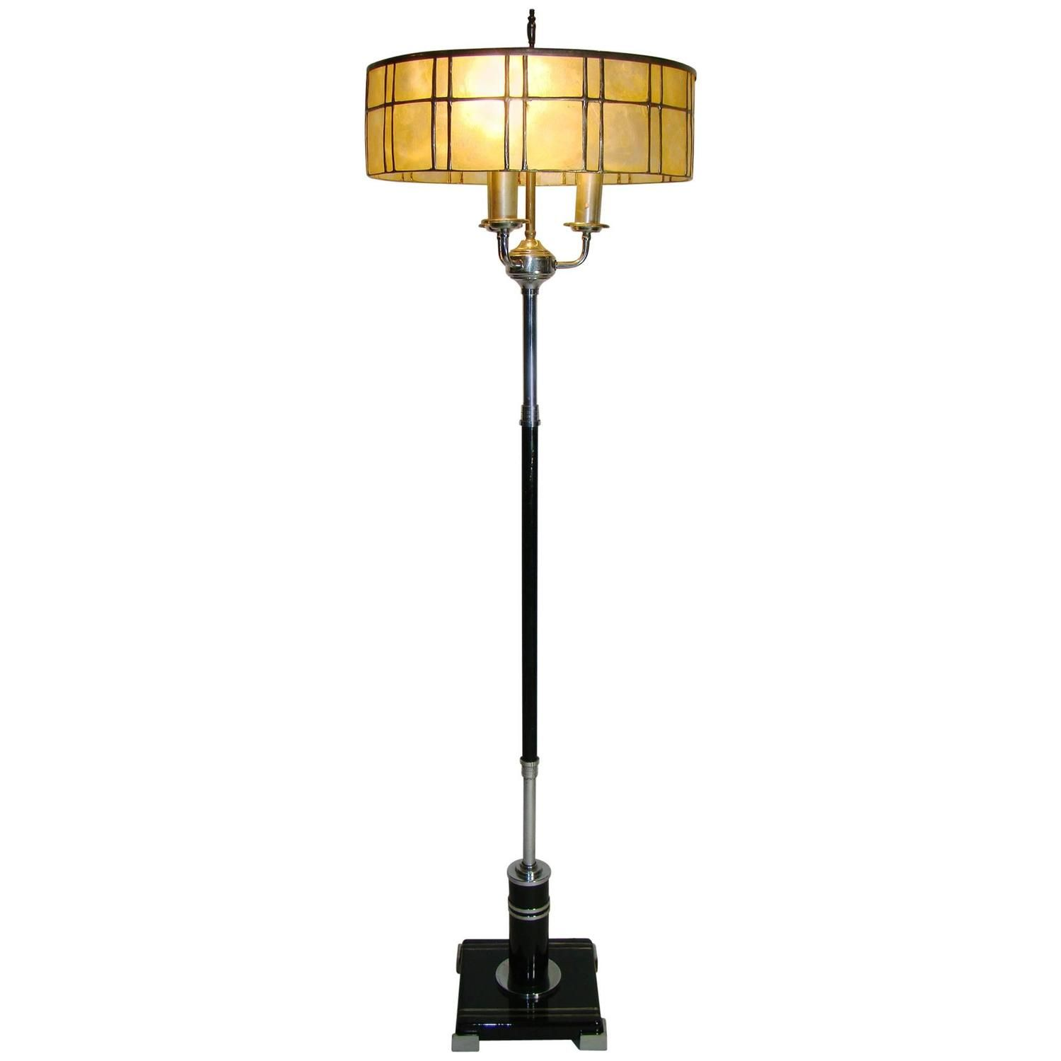 American Art Deco Chrome Black Floor Lamp circa 1920s