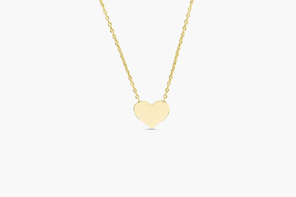 14k Gold Heart Necklace Heart Pendant Gold Thin Gold Chain Heart Necklace