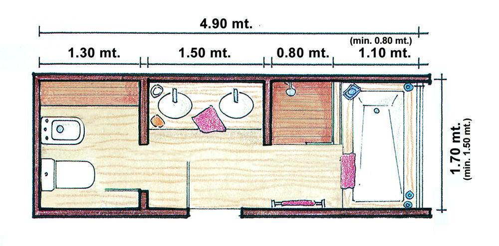 Plano ba o compartimentado ba os pinterest b squeda for Medidas de duchas para banos