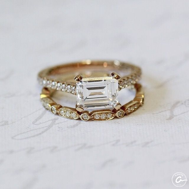 East West Bands: Yellow Gold East/west Set Emerald Engagement Ring And