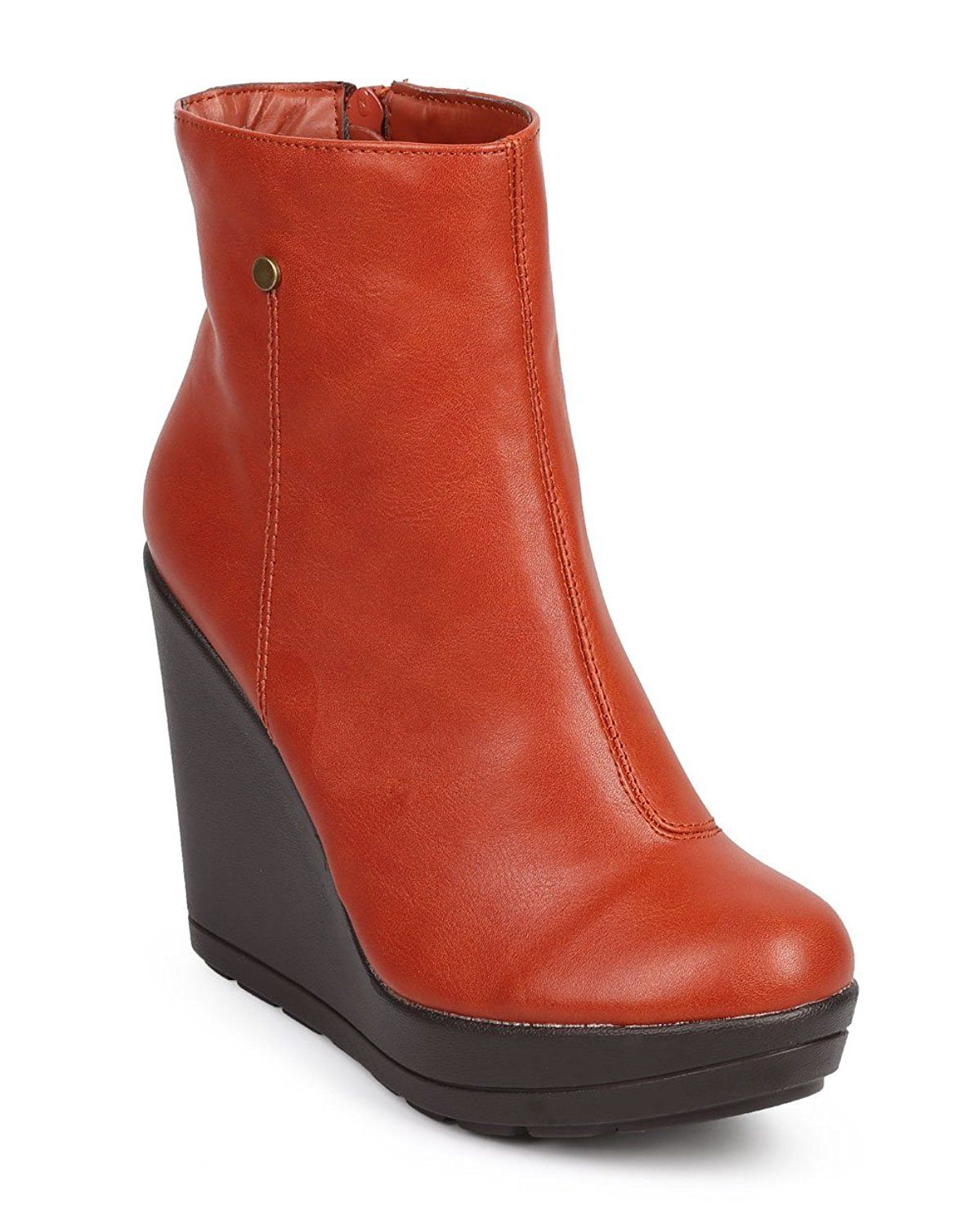 Breckelles DC61 Women Leatherette Tailored Platform Zip Wedge Bootie - Coral * You can find out more details at the link of the image.