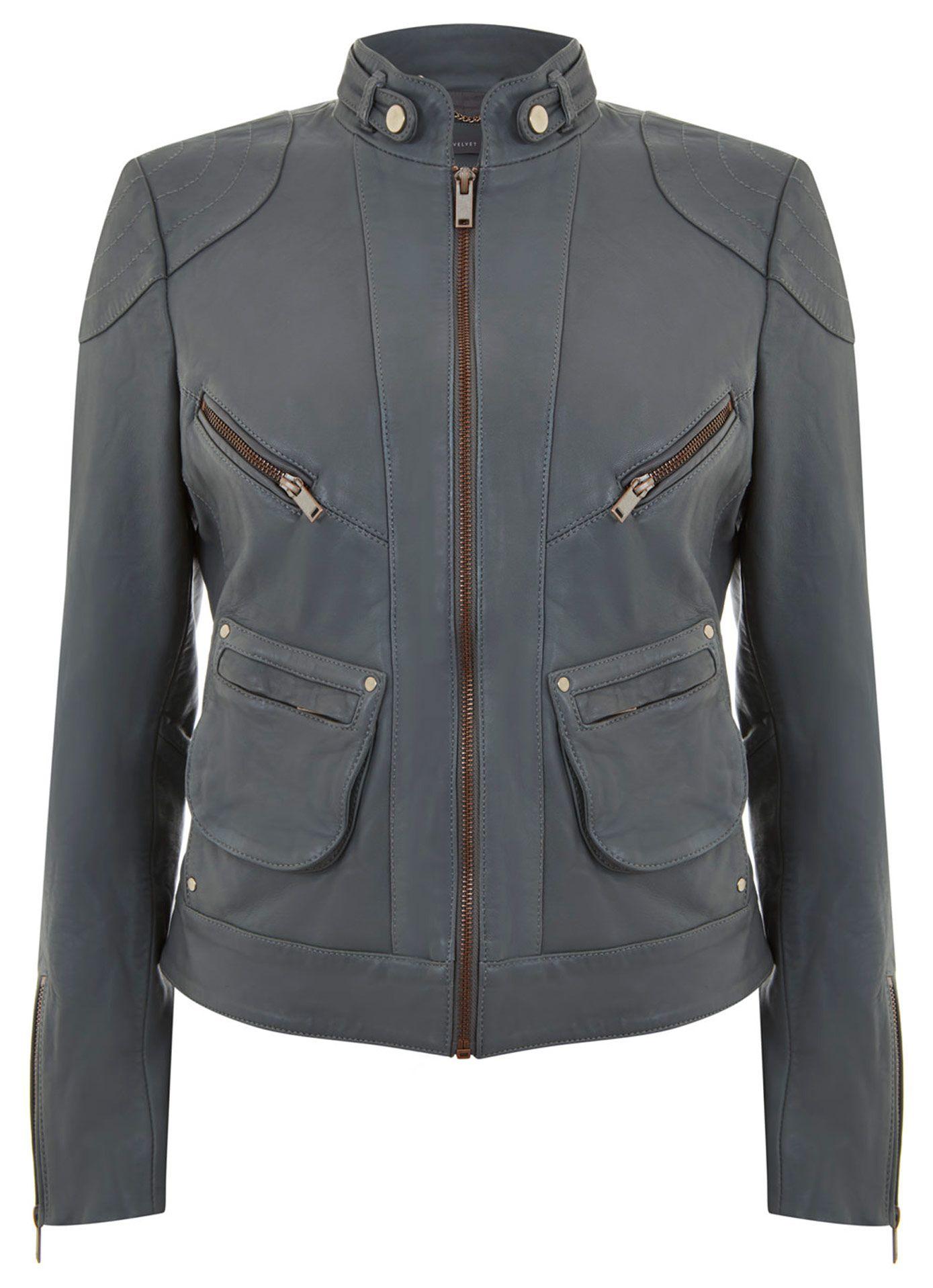 Khaki Washed Leather Jacket Sale MintVelvet Washed